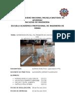 (DETERMINACIÓN DEL CO2 PRESENTE EN UNA MUESTRA DE AGUA POR  EL MÉTODO DE TITULACIÓN VOLUMÉTRICA ) Química Analítica (Laboratorio N° 4)