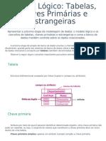 Modelo Lógico Tabelas, Chaves Primárias e Estrangeiras