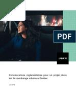 Projet pilote d'Uber au Québec