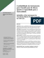 Confi Abilidade Do Instrumento Classificação de Idosos Qaunato à Capaciade Para o Autocuidado