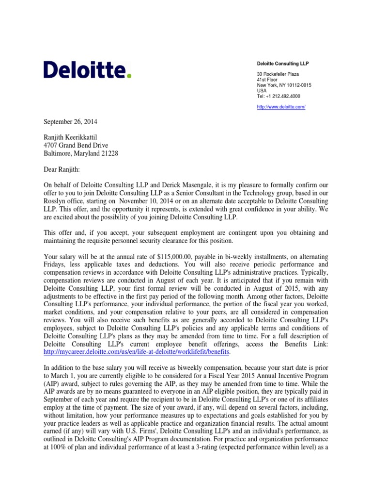 ranjith keerikkattil deloitte offer letter consultant employment