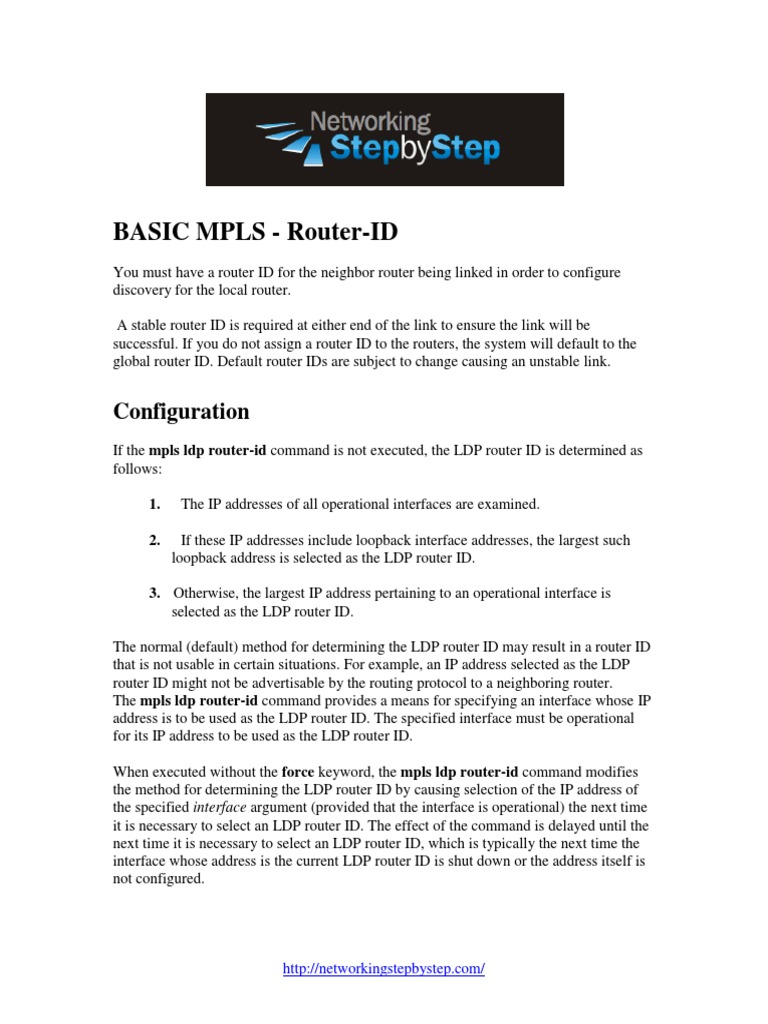 BASIC-MPLS-Configuration-Guide-MPLS-Router-ID pdf | Multiprotocol