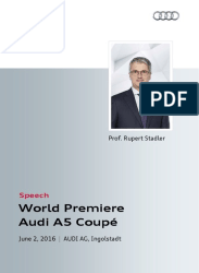 World Premiere Audi A5 Coupé: Speech Rupert Stadler
