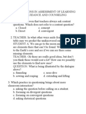 Test Questions in Assessment of Learning and Guidance and Counseling