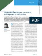Revue Lamy Droit Civil_Animal Domestique Et Statut Juridique
