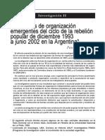 Las Formas de Organización Emergente Del Ciclo de La Rebelión Popular de Diciembre 1993 a Junio 2002 en Argentina