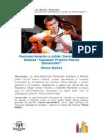Reconocimiento a Julián David Serna Aldana, Ganador Mono Nuñez