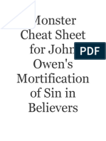 Monster Cheat Sheet for John Owen's Mortification of Sin