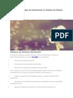 Ventajas de Implementar Un Sistema de Gestión Ambiental. ISO 14001