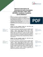 Memoria Descriptiva Acero Inox en 14307 304L Quinta Metalica