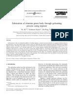 Artigo - Fabrication of Alumina Green Body Through Gelcasting Process Using Alginate