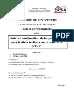 Suivi Et Amélioration de La Qualité Des Eaux Traitées Tertiaire Au Niveau de La STEP Marrakech