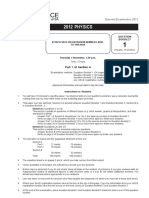 2012 Physics Examination Paper