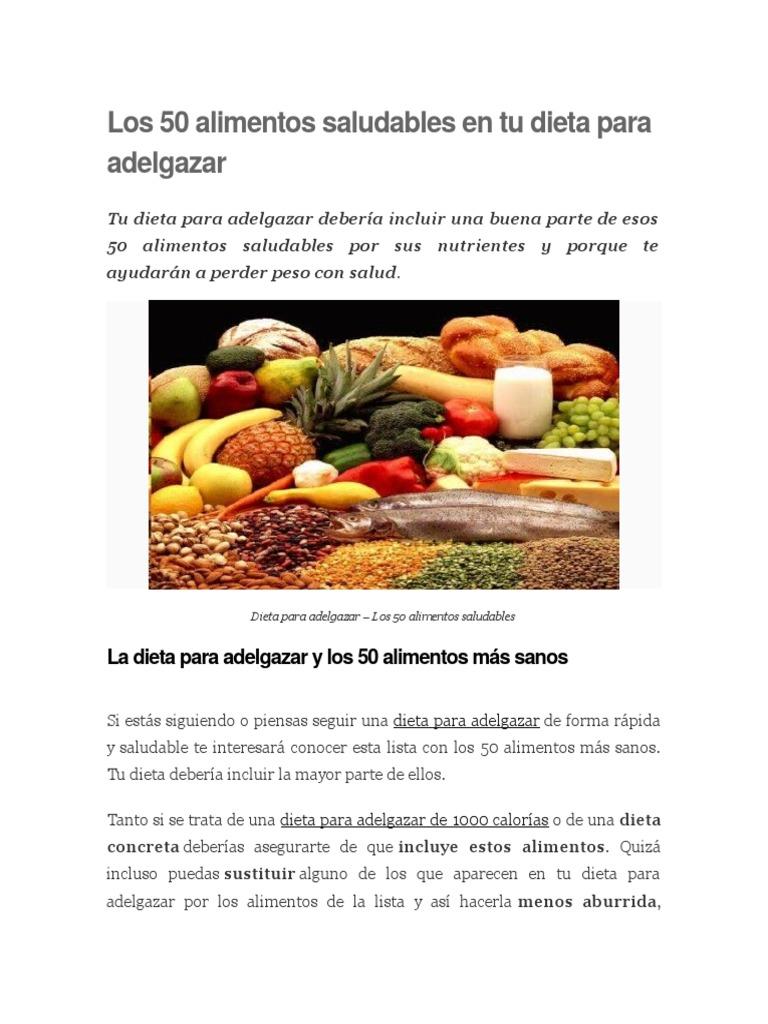 Lista alimentos sanos para adelgazar