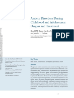 Anxiety Disorders During Childhood and Adolescence Origins and Treatment