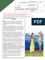 Evalaucion Lenguaje u2 Leyenda Articulo Informativo Al Fin Esta Prueba