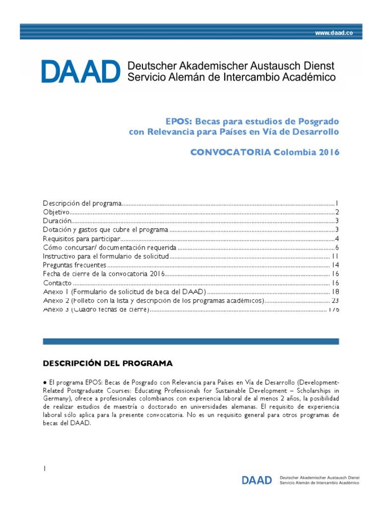 Daad Convocatoria Epos 2016 | Test (Assessment) | Higher Education