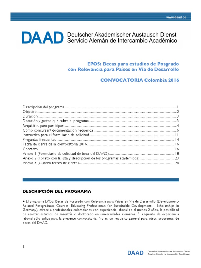 Daad Convocatoria Epos 2016 | Test (Assessment) | Higher Education