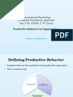 Productive Behavior in Organizations