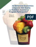 How Behavioral Economics Help to Improve Diet Quality