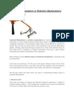 Industrial Manipulators or Robotics Manipulators