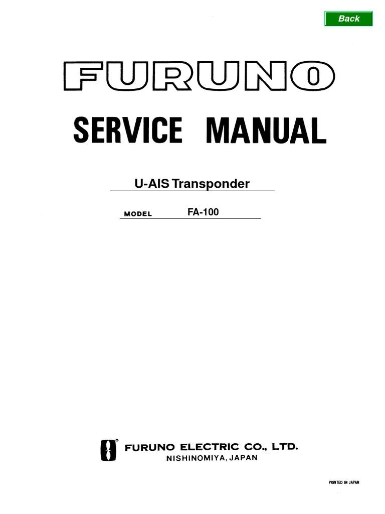 furuno ais fa100 service manual telecommunications radio rh es scribd com Example User Guide furuno fa-150 user manual