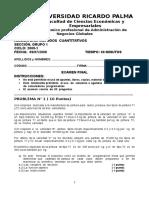 Examen Final de Metodos Cuantitativos Urp.2008.1