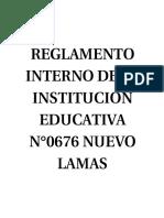 Reglamento Interno de La Institución Educativa n