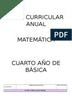 Plan Curricular Anual 2016 - Matemática 4to Va Segundo