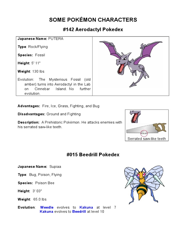 Description and characteristics of the Pokémon