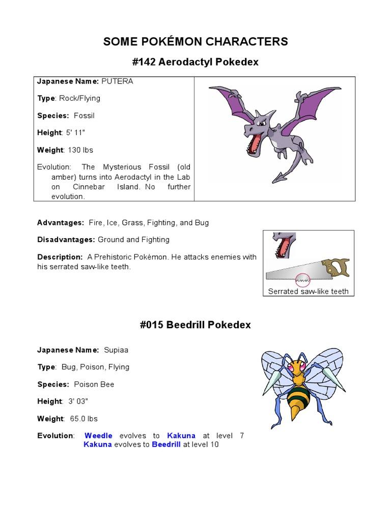Description and characteristics of the Pokémon