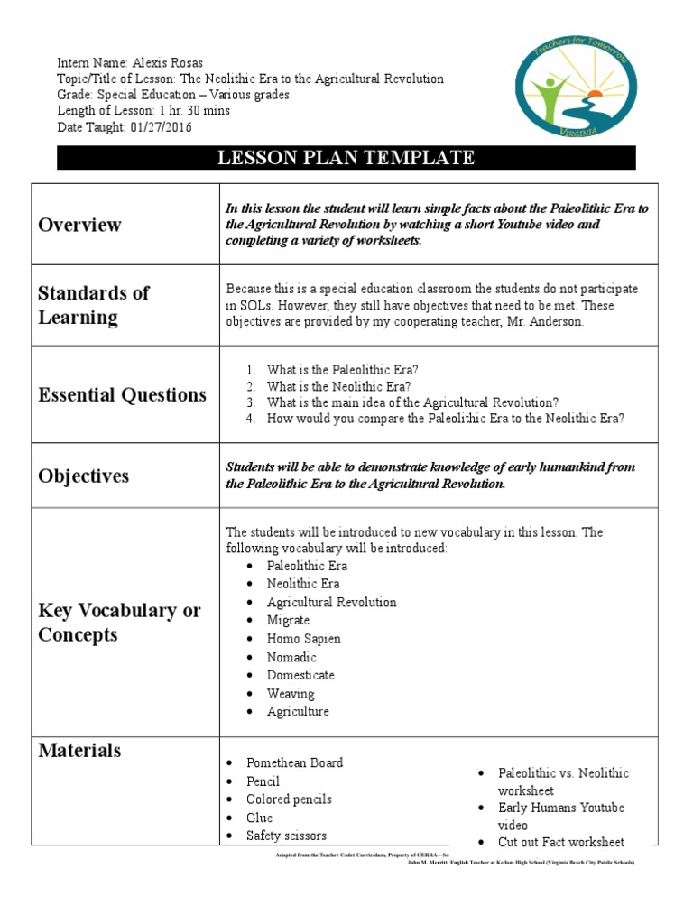 Lesson Plan Early Humans Paleolithic Lesson Plan - Lesson plan template special education