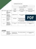 Calendario de Evaluación,1º Qca.