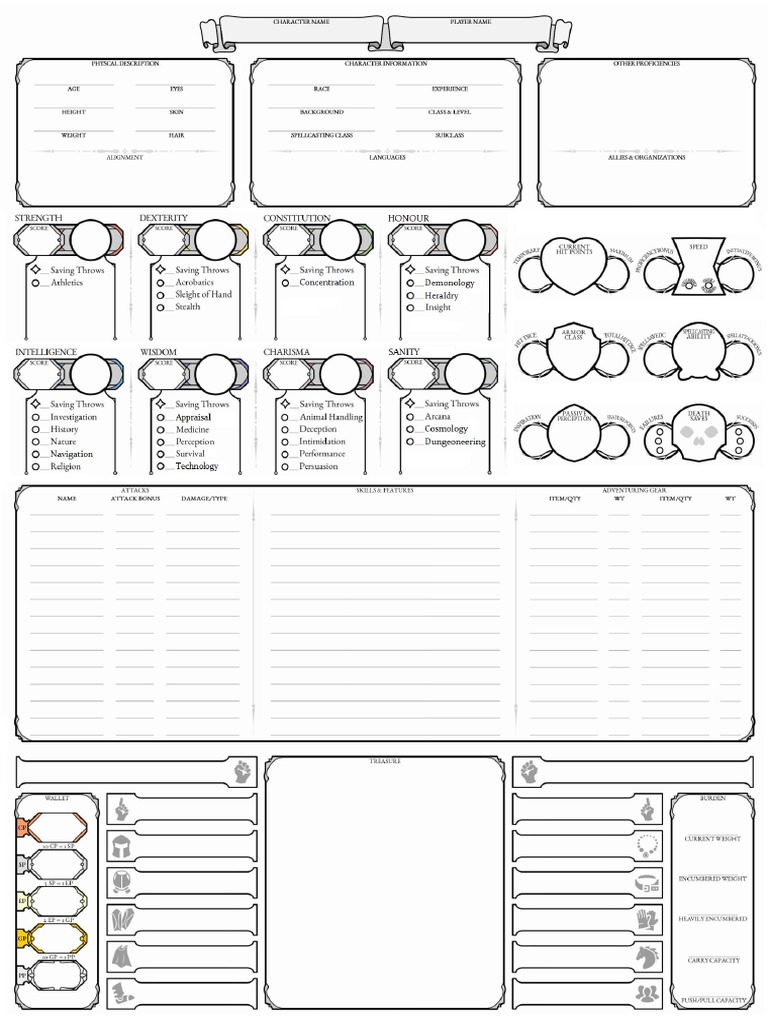 graphic relating to Dungeons and Dragons Printable Character Sheet called Dd 5e Persona Sheet