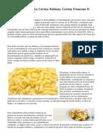 ¿Cuál Es Mejor, La Cocina Italiana, Cocina Francesa O Cocina Española?