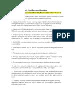 Environmental Test Chamber Questionnaire