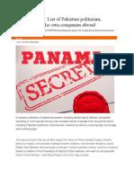 Panama Papers List of Pakistani