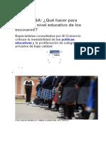 Noticia sobre Educacion en El Peru, Prueba PISA -