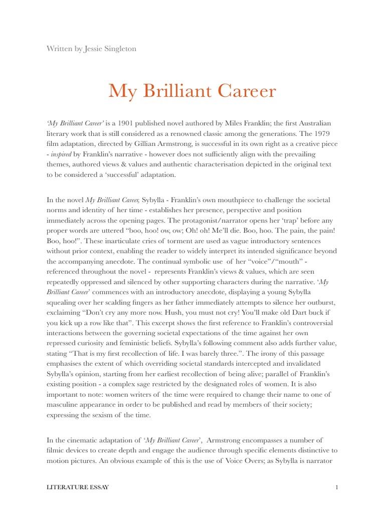 essay my brilliant career essays