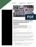 $ 2,4 por mujer, el presupuesto nacional para prevenir la violencia _ Día a Día