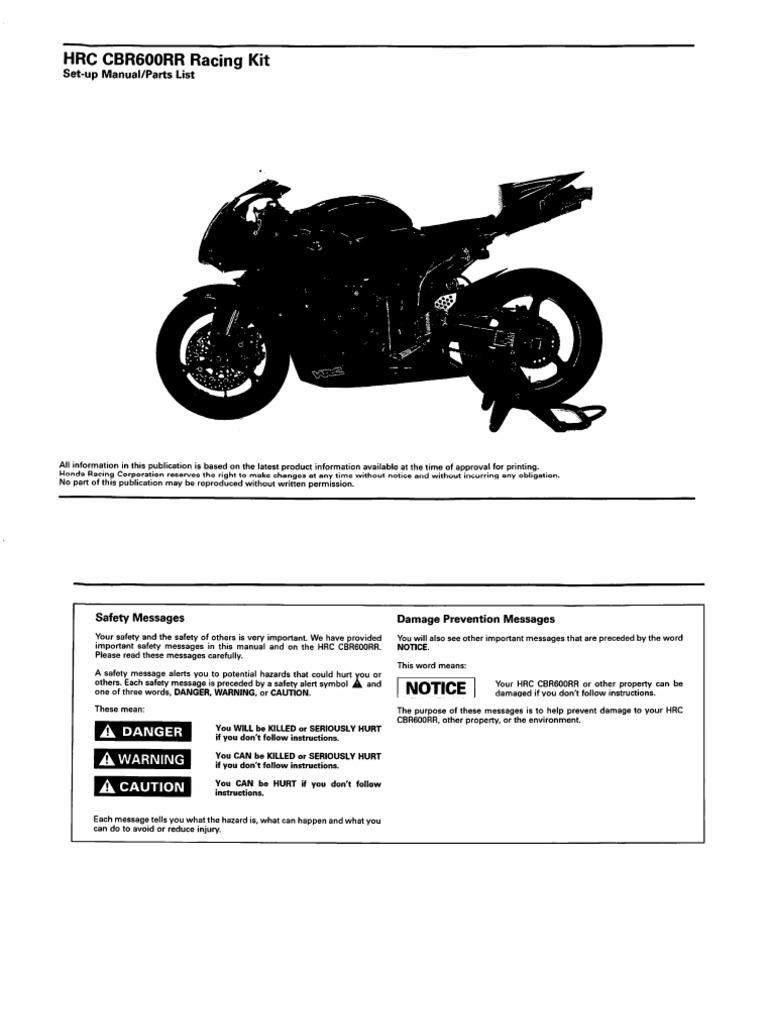 Hrc 2007 Cbr600rr Set Up Manual