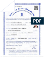 Sample of UGC NET Certificate