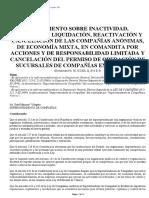 Reglamento Sobre Inactividad, Disolucion, Liquidacion, Reactivacion y Cancelacion De