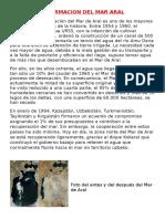 INFORMACION DEL MAR ARAL ,Mar Muerto,Glaciar Mas Importante,Acuifro Mas Grande y Central Mareomotriz Alejan