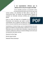 Pronunciamiento de Expresidentes Chilenos Por La Demanda Contra Bolivia Ante La CIJ Por Las Aguas Del Silala
