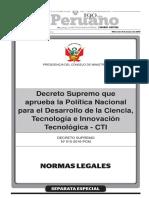 Normas Legales Política Nacional de Desarrollo de CTI