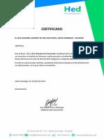 Certificado de Pasantías Ivan