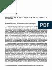 Conciencia y Autoconciencia en Hegel y Husserl