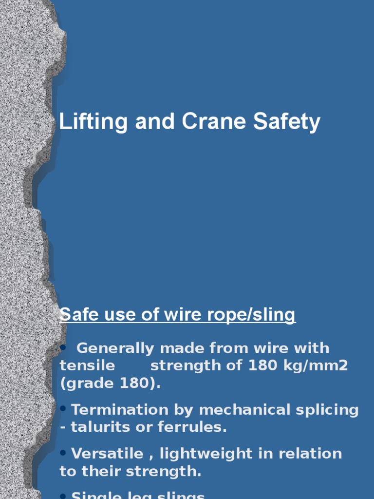 Crane and lifting safety.ppt | Rope | Wire
