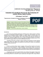 Evaluation of a Synthesis Process for the Production of Calcium Nitrate Liquid Fertilizer